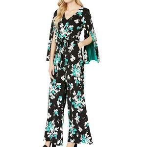 Taylor Long Split Sleeve Floral Print Jumpsuit NEW
